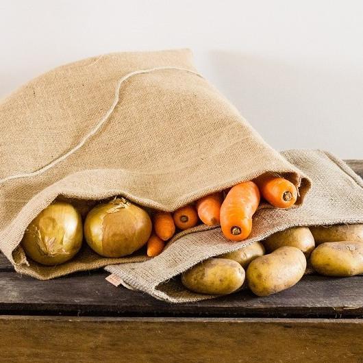 Grøntsagspose i grov hessian