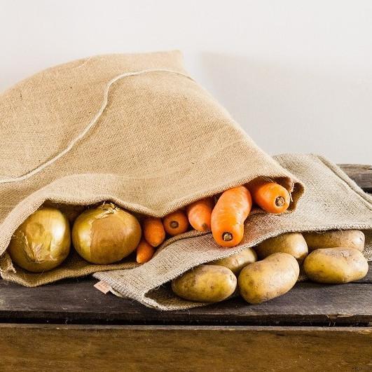Grøntsagspose i fin hessian